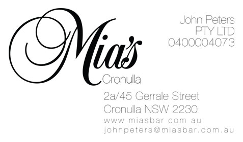Mias Cronulla Business Card Back